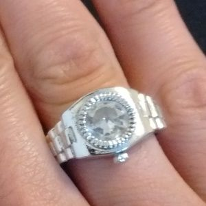 Silver Toned Watch Ring size 7